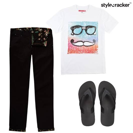 Tshirt Graphic Chinos Flipflops Casual AroundTheBlock - StyleCracker