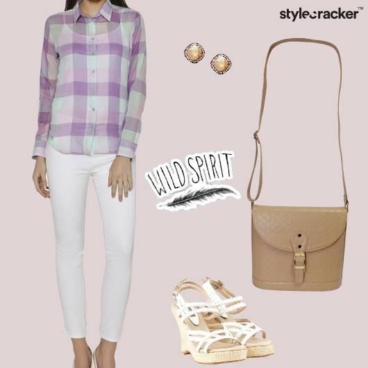 Top Flaredpants WEdges Slingbag Work - StyleCracker