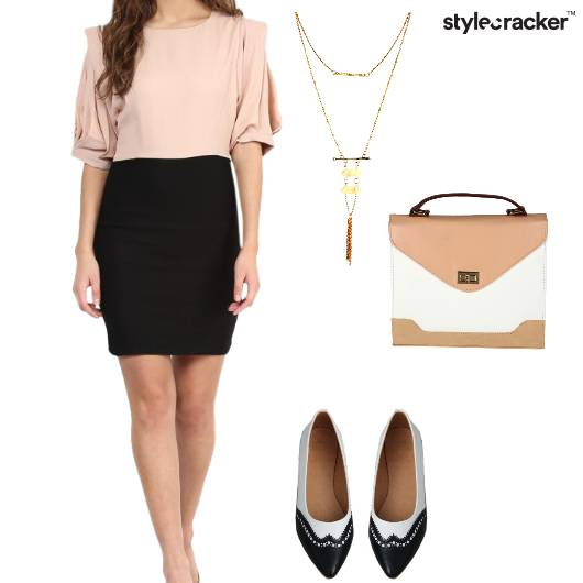 Dress BalletFlats  MessengerBag LayeredNecklace Work - StyleCracker
