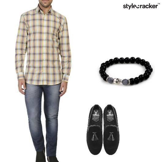 Shirt Jeans Loafers Beaded Bracelet Casual - StyleCracker