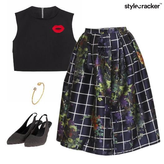 Pleated Skirt CropTop Brunch Floral - StyleCracker