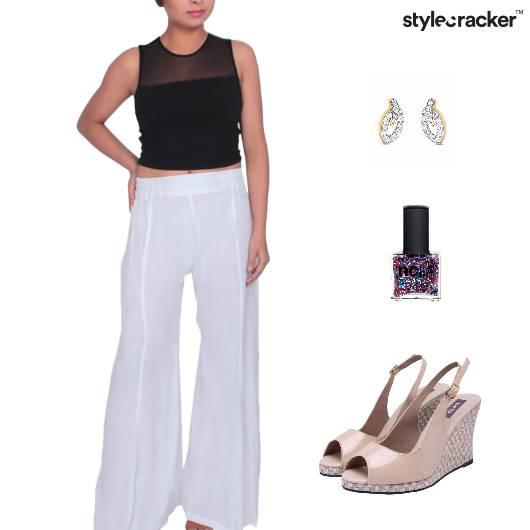 CropTop PallazoPants Wedge Footwear Dinner - StyleCracker
