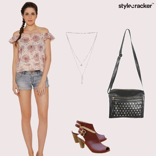 OffshoulderTop Jeggings Peeptoes Slingbag Casual - StyleCracker