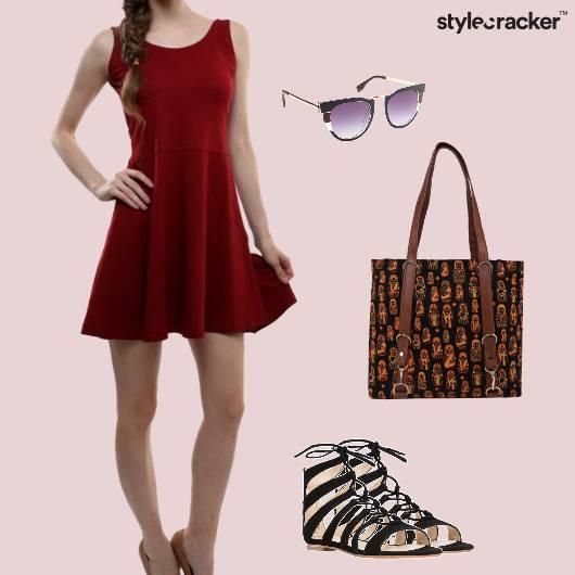 SkaterDress LaceUp Flats Handbag Sunglasses - StyleCracker