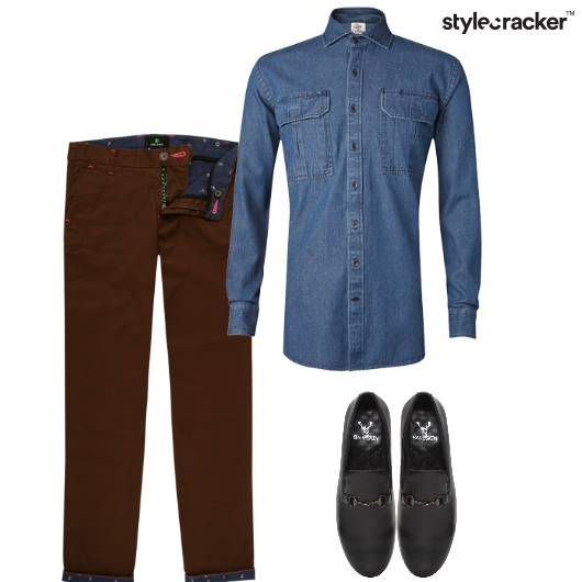 Denim Shirt Chinos Loafers Casual Party - StyleCracker