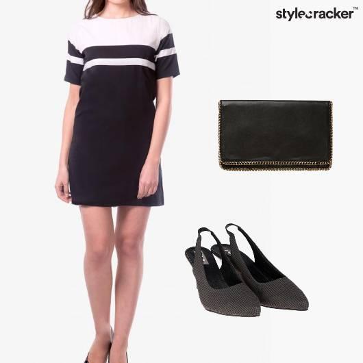 Shift Dress Casual Night Party Monochrome - StyleCracker