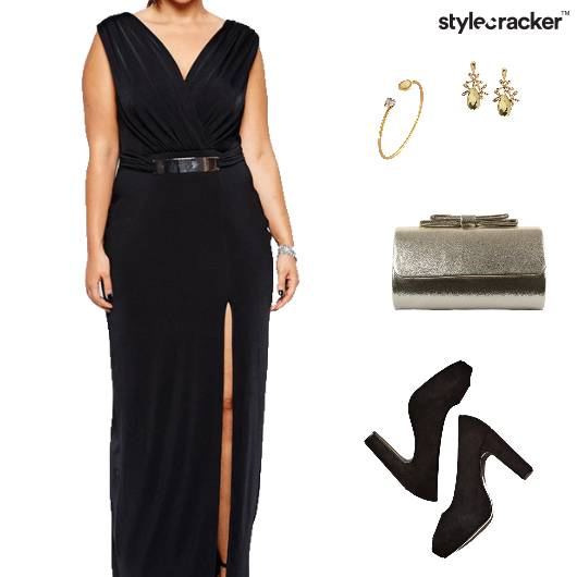 SlitDress Earrings Bracelet Clutch Pumps - StyleCracker