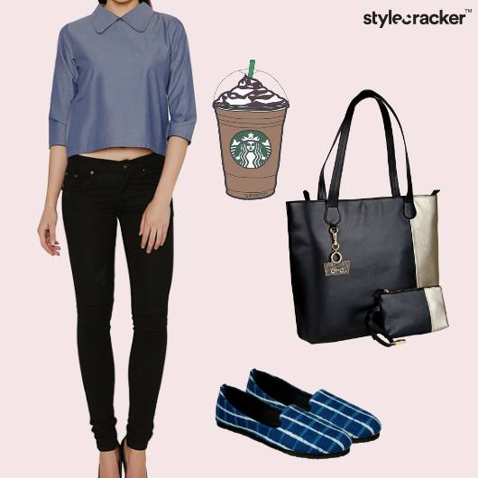 Top Flaredpants Flats Handbag Work Coffee - StyleCracker