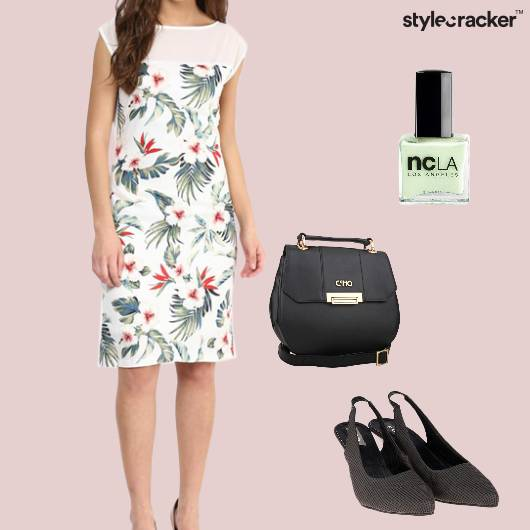 Dress Printed Slingbacks Slingbag Nailpolish Party - StyleCracker