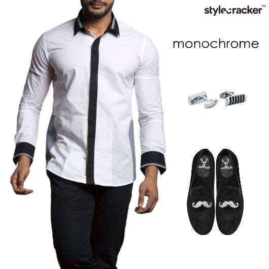 Monochrome Shirt Pants Slip-ons  - StyleCracker
