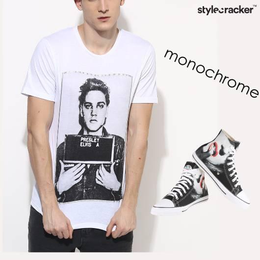 Monochrome Print Tshirt Casual  - StyleCracker