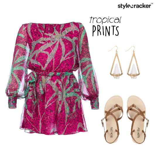 Tropical OffShoulder Strappy  - StyleCracker