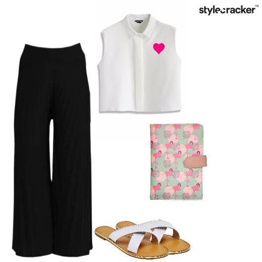Croptop Flaredpants Flats Wallet Casual - StyleCracker