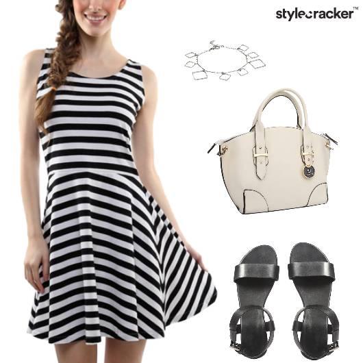 Stripes Monochrome Skater Dress Casual  - StyleCracker