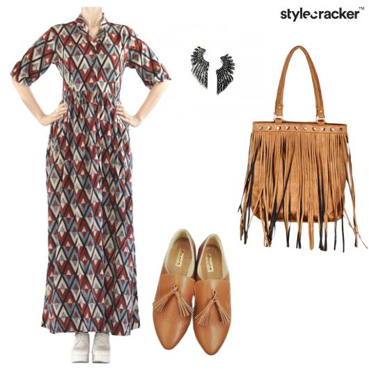 Midi Dress EarCuffs Fringe Bag - StyleCracker