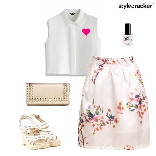 CropTop Floral Print Skirt Wedge Clutch - StyleCracker