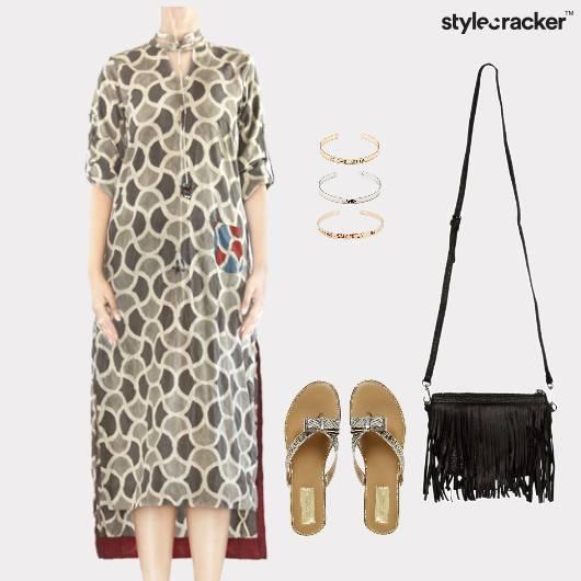 Printed Dress Flats Fringe Bag Lunch - StyleCracker