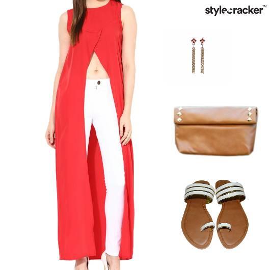 LonglineTop Pants Clutch Earrings Sandals  - StyleCracker