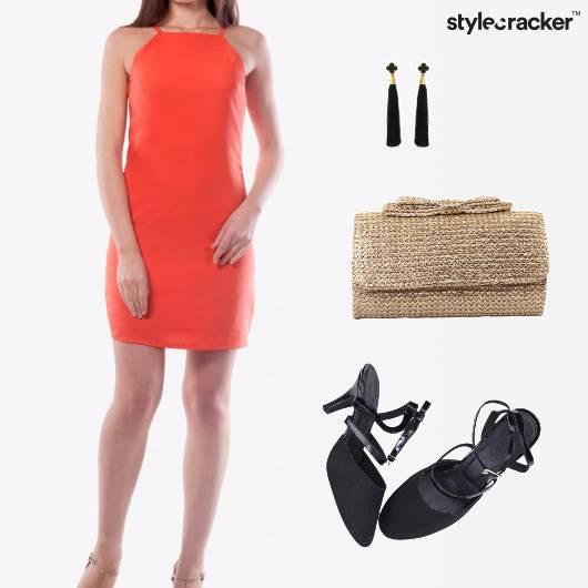 HalterDress Earrings Clutch Heels  - StyleCracker