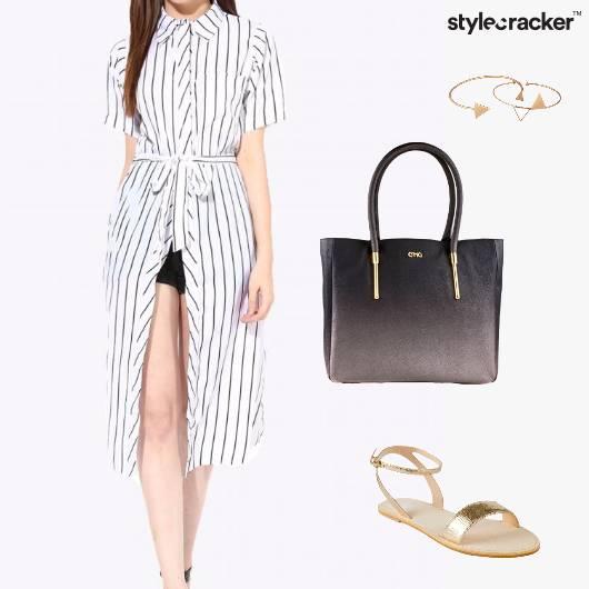 LonglineShirt Bag Bracelet Sandals - StyleCracker