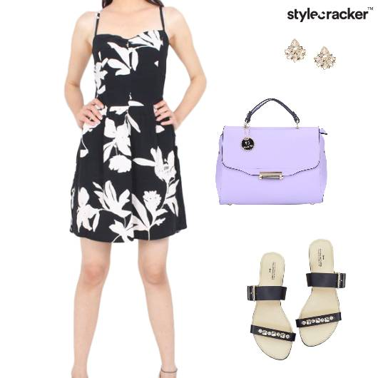 Dress HandBag Sandals Earrings  - StyleCracker