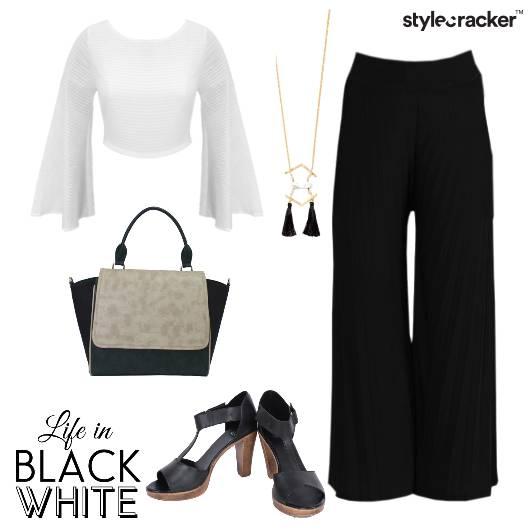 FlaredSleeves Blockheels Palazzos BlackWhite  - StyleCracker