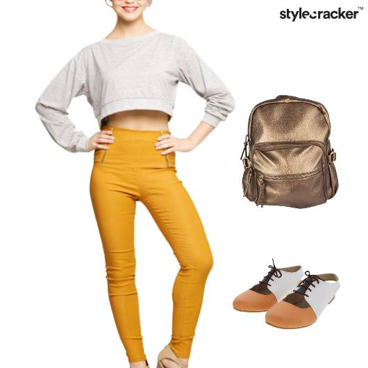 CropTop Backpack Casual College Jeggings - StyleCracker