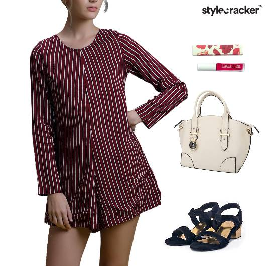 Stripes Jumpsuit Lunch NailPaint Handbag - StyleCracker