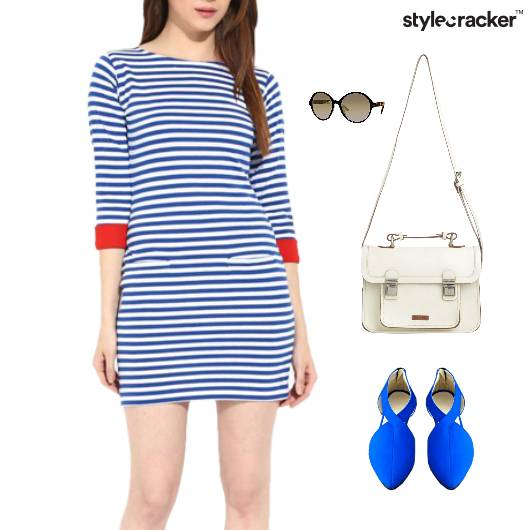 Stripes Dress SlingBag Casuals Event - StyleCracker