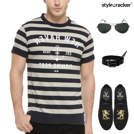 Stripe TShirt Denims SlipOn Footwear - StyleCracker
