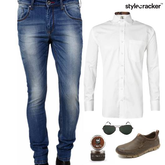 Shirt Denim Aviator Sunglasses Lunch - StyleCracker