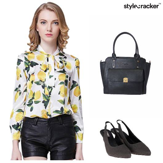 Top Printed Skirt Slit Handbag Pumps Casual - StyleCracker
