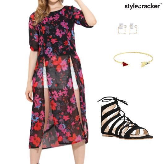 SlitMaxiTop Shorts Earrings Bracelet Sandals  - StyleCracker