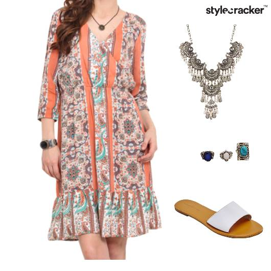 Dress Statement Neckpiece Flats Footwear - StyleCracker