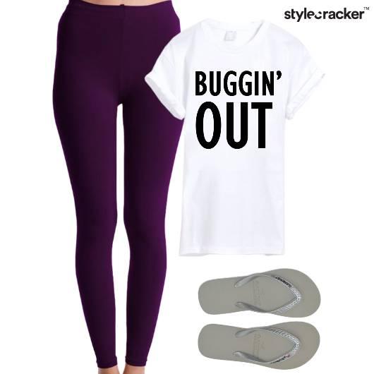 Leggings Tshirt Slippers Casual Comfort - StyleCracker