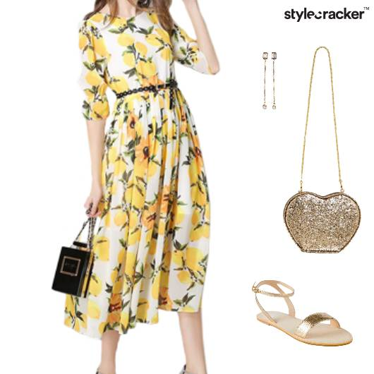 Printed Dress Duster Earring SlingBag Sandals - StyleCracker