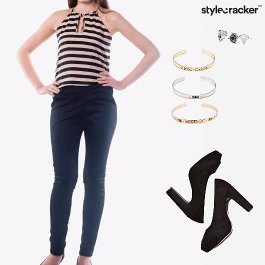 Jumpsuit Ring Bracelet Pumps Footwear - StyleCracker