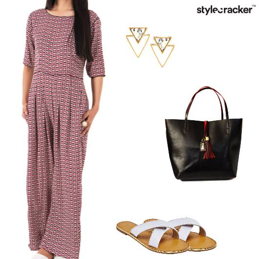 Jumpsuit Handbag Flats Earrings Dinner - StyleCracker