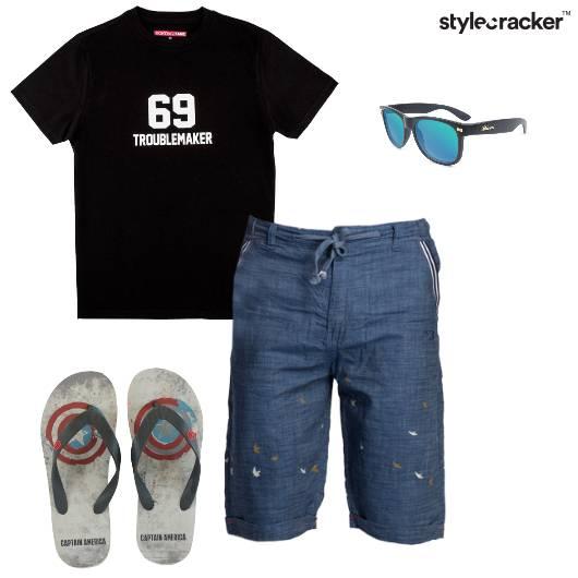 Tshirt Shorts Flipflops Sunglasses Casual - StyleCracker