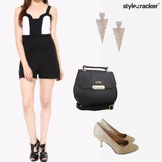 Jumpsuit Slingbag Pumps Earrings AroundTown - StyleCracker