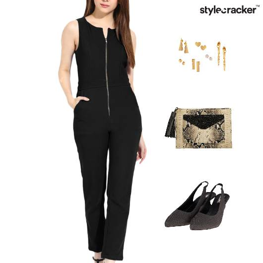 Jumpsuit Clutch Accessories Dinner EarringSet - StyleCracker