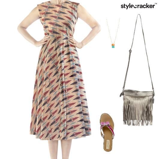 Printed Dress Flats Fringe SlingBag - StyleCracker