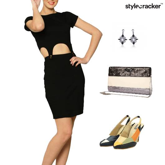Cutwork Dress Colorblock Footwear Clutch - StyleCracker