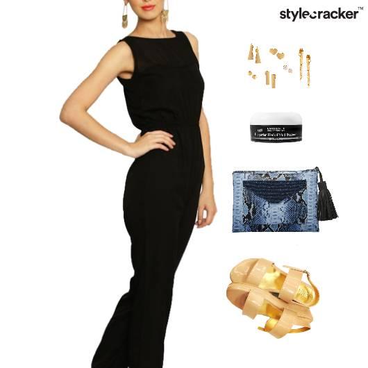 Jumpsuit Clutch Flatform EarringSet Dinner - StyleCracker