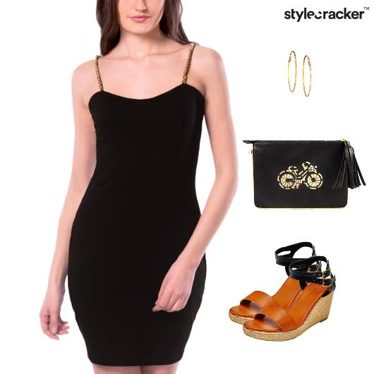 Bodycon Dress Wedge Heel Clutch - StyleCracker
