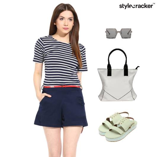 Stripe Playsuit Flatform Footwear ToteBag - StyleCracker