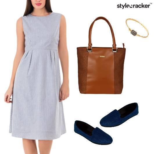 Stripes Midi Dress Casual Outdoor - StyleCracker