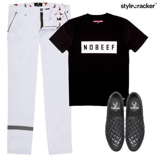 Stripe Pants Tshirt DressedUp Monochrome - StyleCracker