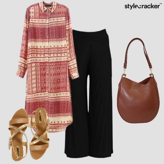 Casual Flats Longshirt Palazzos  - StyleCracker
