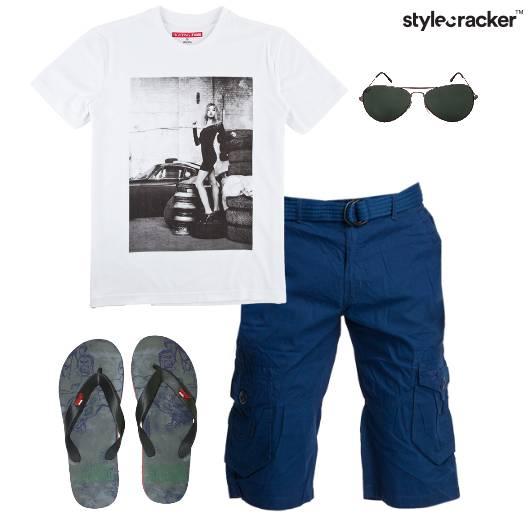 Tshirt Shorts Flipflops Aviators Casual - StyleCracker